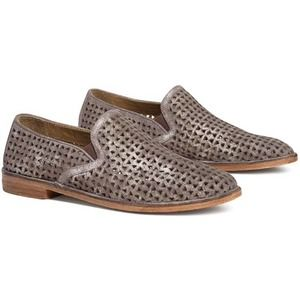 TRASK Ali Pewter Perforated Suede Leather Loafer 9